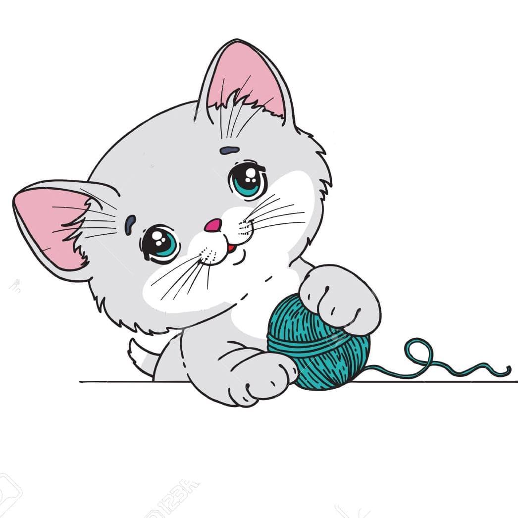 Hand Drawn Watercolor Cartoon Female Cat