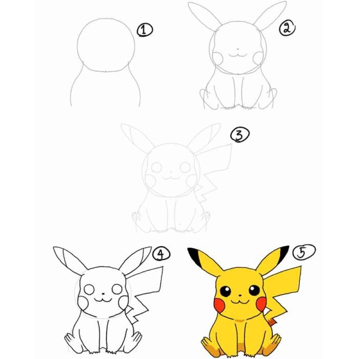 Картинки Пикачу для срисовки - 100 идей для рисования