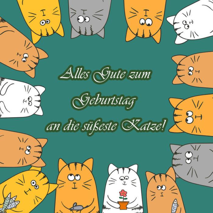 Alles Gute zum Geburtstag zu den Katzen Bildern - 50 Grußkarten gratis